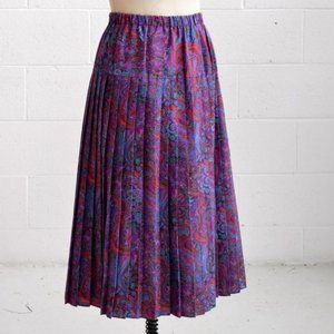 purple swirling paisley print maxi skirt